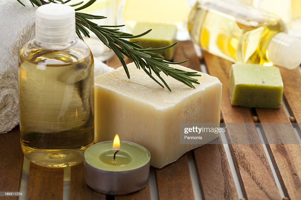 Spa concept with soap, rosemary