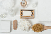 Spa Kit. Shampoo, Soap Bar And Liquid. Shower Gel, Aromatherapy Salt. Top View
