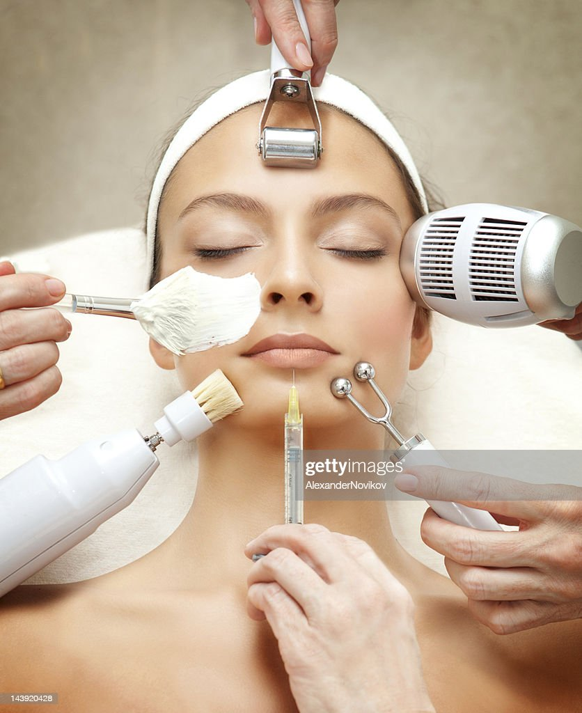 Spa Salon: Young Beautiful Woman Having Various Facial Treatment. : Stock Photo