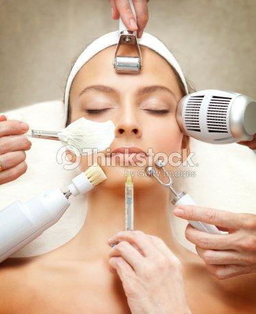 Spa Series: Young Beautiful Woman Having Various Facial Treatment. : Stock Photo