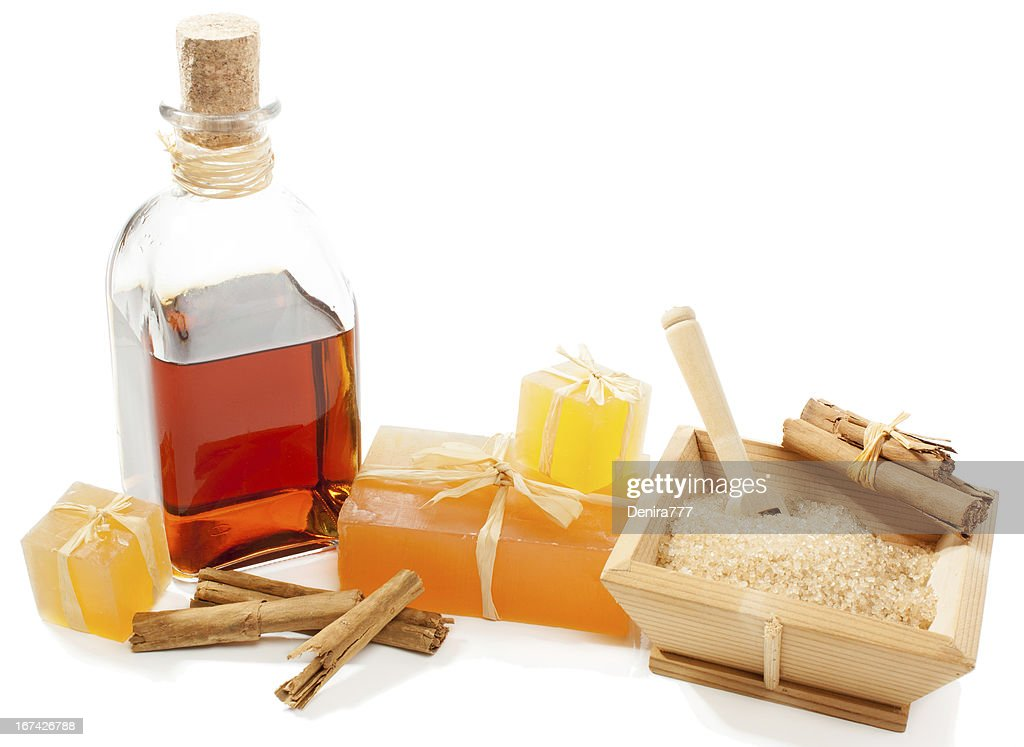 Spa setting with cinnamon : Stock Photo