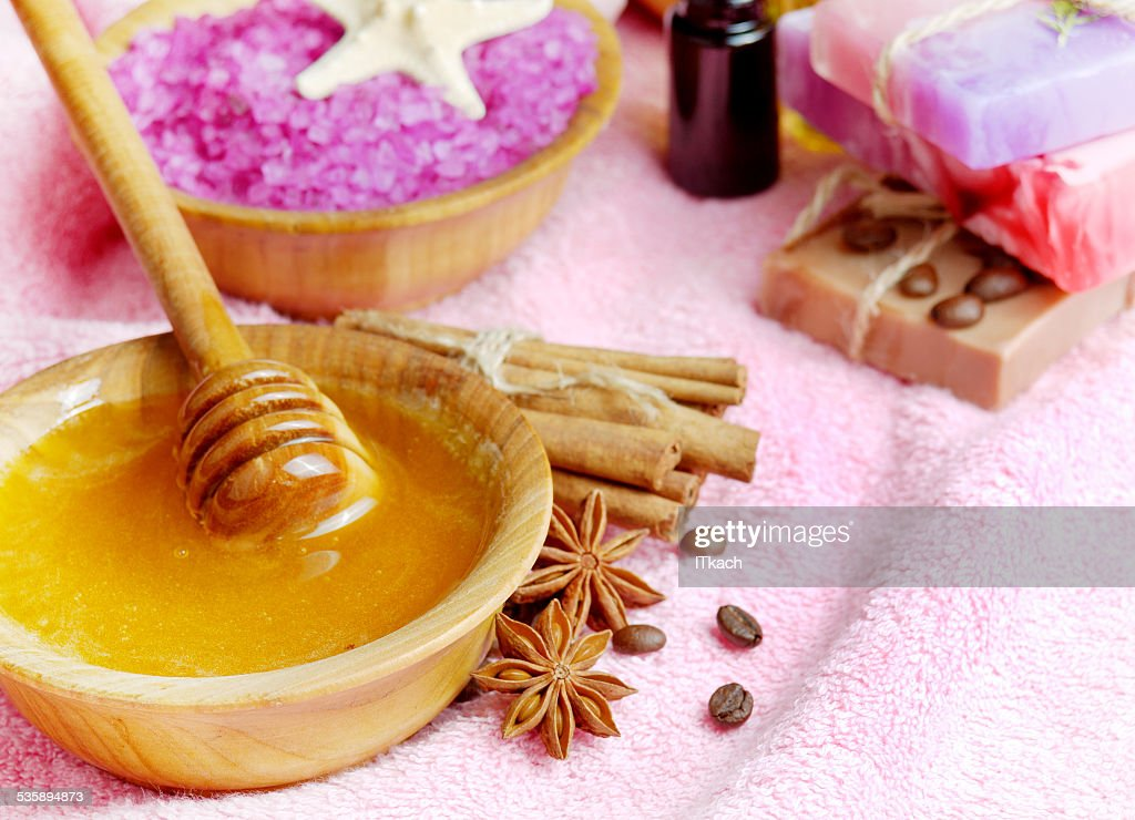 Spa setting with natural soap and sea salt : Stock Photo