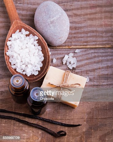 Spa still life on the wooden background, top view. : Stock Photo