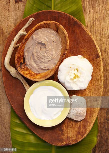 Spa still life with organic mud mask in a bowl