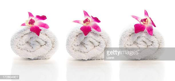 Spa towels and orchids