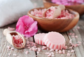 Spa with pink salt