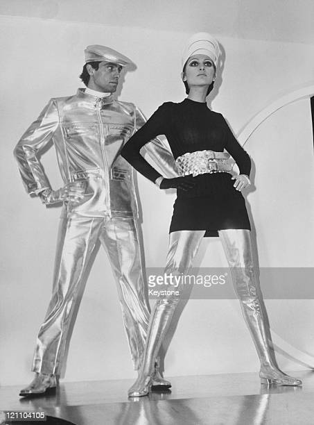 Space age outfits in silver vinyl by Pierre Cardin on display at Fashion Week in Paris 26th January 1968