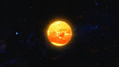 Space debris and gas planet orbiting red star. Outer Space, Cosmic Art and Science Fiction Concept.