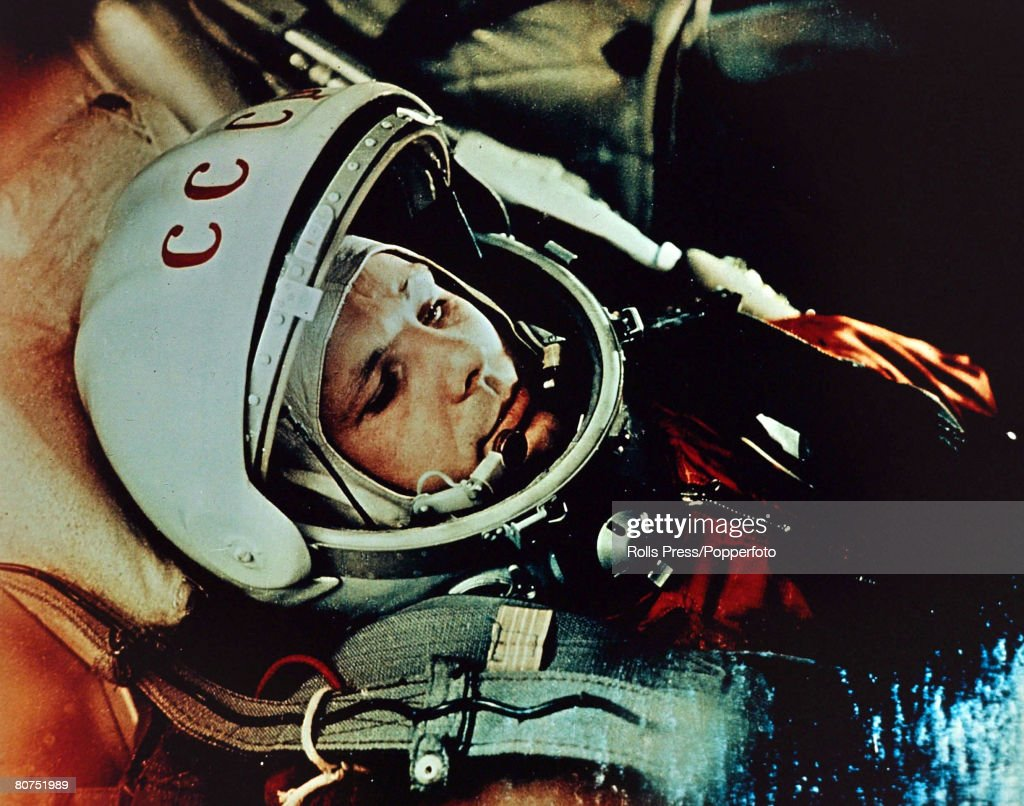 circa 1961, Russian cosmonaut Yuri Gagarin, (1934-1968) the first man in space, who completed a circuit of the earth in the spaceship satellite 'Vostok' in 1961