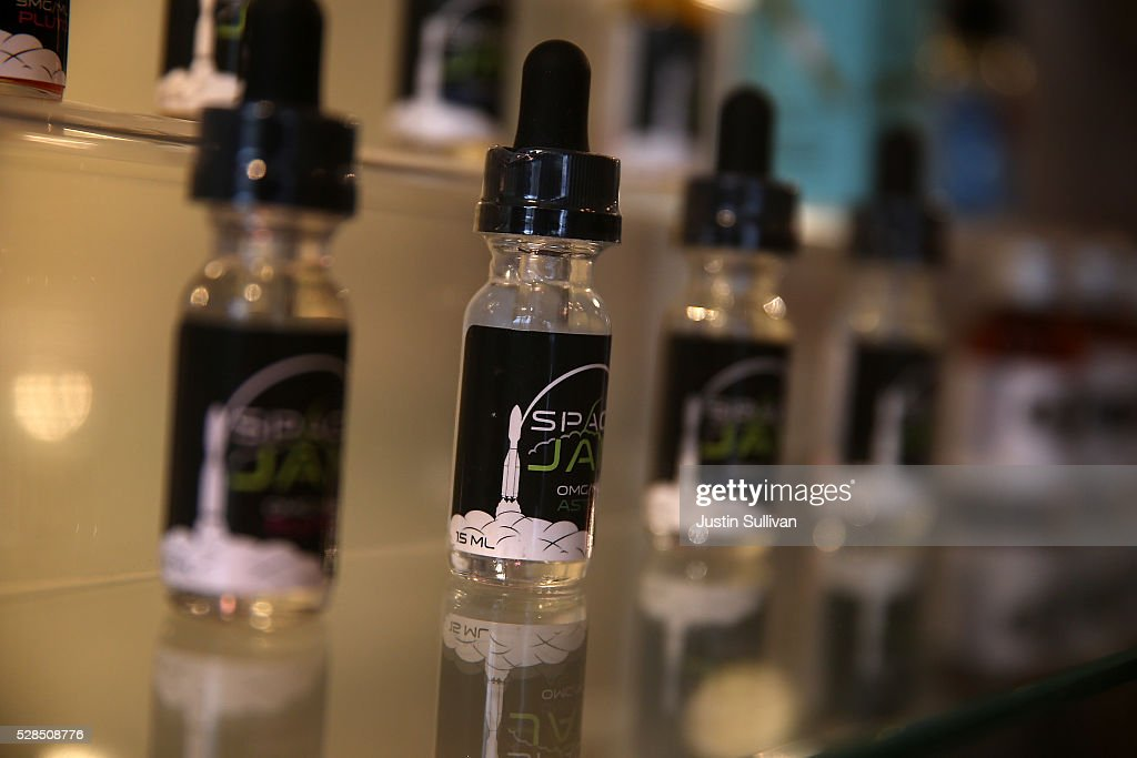Space Jam juice for E-cigarettes is displayed at Gone With the Smoke Vapor Lounge on May 5, 2016 in San Francisco, California. The U.S. Food and Drug Administration announced new federal regulations on electronic cigarettes that will be the same as traditional tobacco cigarettes and chewing tobacco.