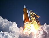 Space Launch System Takes Off. 3D Illustration. NASA Images Not Used.