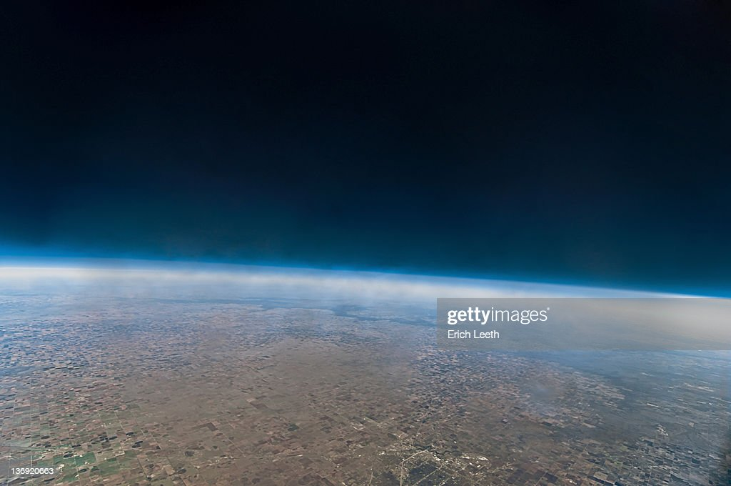 Space looking like from weather balloon : Stock Photo