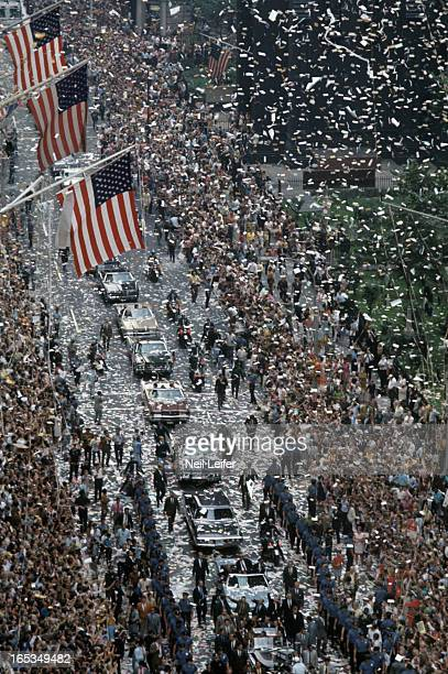 NASA Apollo 11 Aerial view of Commander Neil Armstrong Command Module Pilot Michael Collins and Lunar Module Pilot Buzz Aldrin during ticker tape...