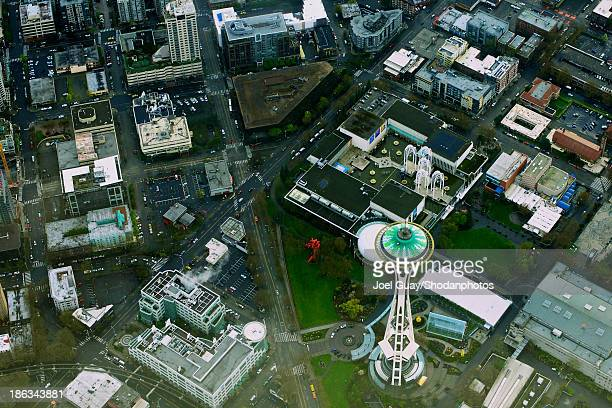 Space needle and seattle aerial
