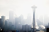 Space Needle in Seattle Washington with haze