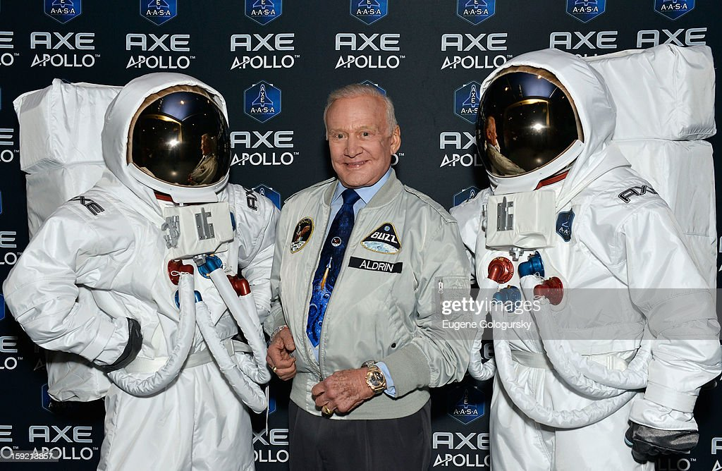 Space pioneer <a gi-track='captionPersonalityLinkClicked' href=/galleries/search?phrase=Buzz+Aldrin&family=editorial&specificpeople=90480 ng-click='$event.stopPropagation()'>Buzz Aldrin</a> announces AXE to Send 22 Guys to Space with New Apollo Campaign at American Museum of Natural History on January 9, 2013 in New York City.