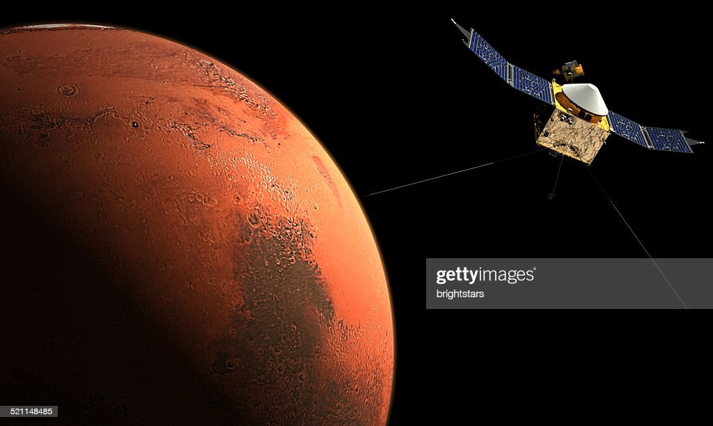 Space probe orbiting Mars