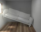 Platzprobleme im zu kleinen Wohnzimmer 3d render