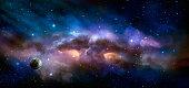Space scene. Colorful nebula with planet. https://nasa3d.arc.nasa.gov/detail/as10-34-5013