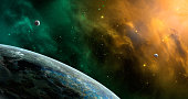 Space scene. Orange and green nebula with planets. http://chamorrobible.org/gpw/gpw-20061021.htm