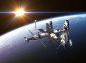 Space Shuttle And Space Station In The Rays Of Sun. 3D Illustration. NASA Images Not Used.