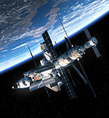 Space Shuttle And Space Station Orbiting Earth. 3D Scene. Elements of this image furnished by NASA.