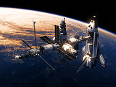 Space Shuttle And Space Station Orbiting Earth. 3D Illustration.