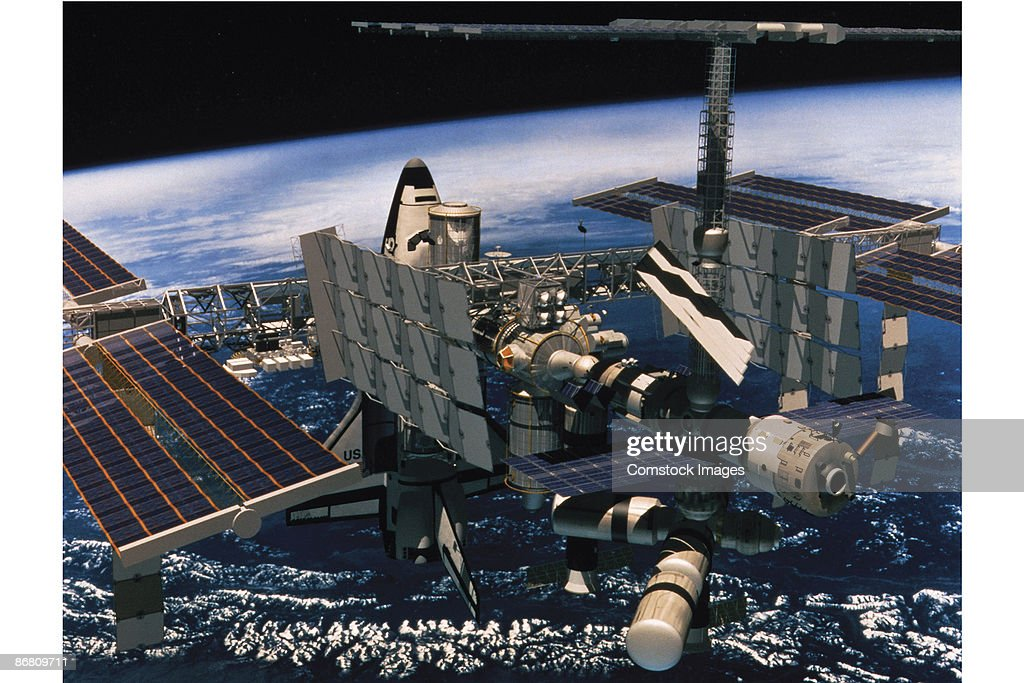 Space shuttle at International Space Station