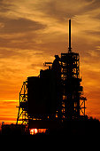 December 7, 2007 - The space shuttle Atlantis is seen on pad 39A as the sun sets at NASA's Kennedy Space Center, Cape Canaveral, Florida. Atlantis will carry the European-developed Columbus laboratory