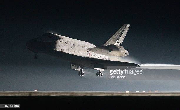 Space Shuttle Atlantis lands at Kennedy Space Center July 21 2011 in Cape Canaveral Florida Atlantis was the final shuttle mission for NASA ending...