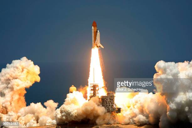 Space Shuttle Atlantis lifts off of launch pad 39a at Kennedy Space Center for its final scheduled launch May 14 2010 in Cape Canaveral Florida...