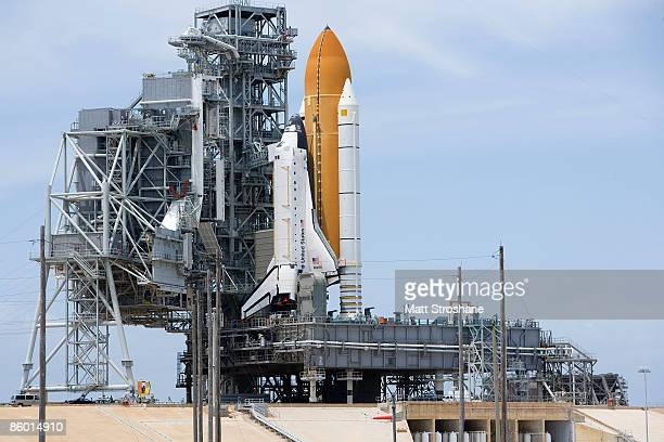 Space Shuttle Atlantis sits on launch pad 39A at Kennedy Space Center April 17 2009 in Cape Canaveral Florida Atlantis had its rotating service...