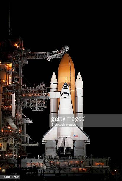 Space shuttle Atlantis sits ready on its launch pad at Kennedy Space Center, Florida.