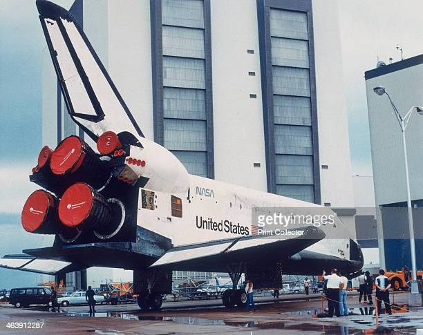 Space Shuttle Columbia on Earth 1980s Rear of Columbia at Kennedy Space Centre Cape Canaveral Florida USA showing Space Shuttle Main Engines The...