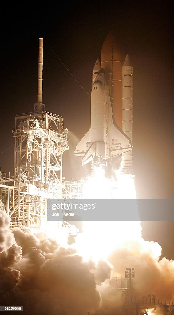 Space Shuttle Discovery blasts off from launch pad 39-A at the Kennedy Space Center on April 5, 2010, in Cape Canaveral, Florida. Discovery is scheduled for a 13 day mission to the International Space Station.