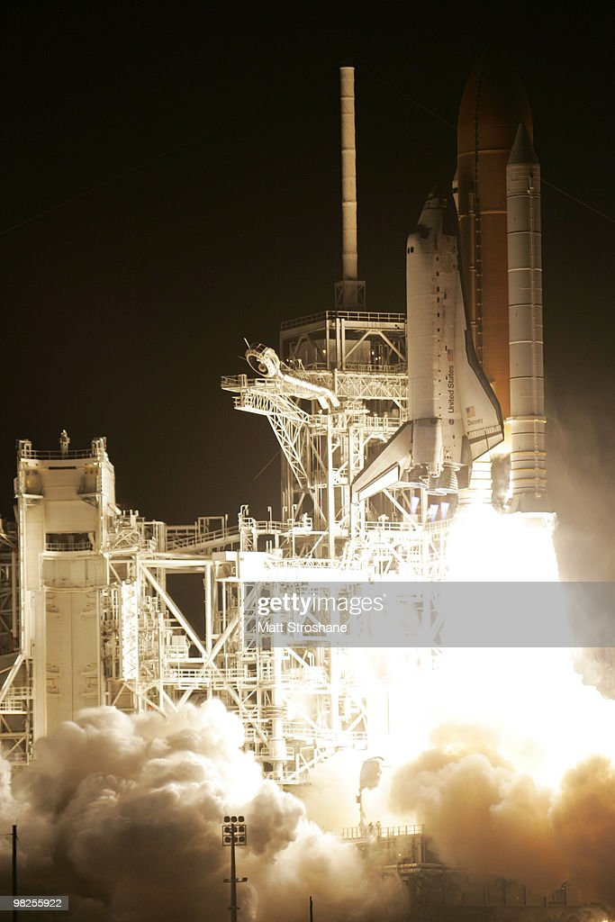 Space Shuttle Discovery lifts off from Pad 39-A at Kennedy Space Center April 5, 2010, in Cape Canaveral. Discovery is scheduled for a 13 day supply mission to the International Space Station..