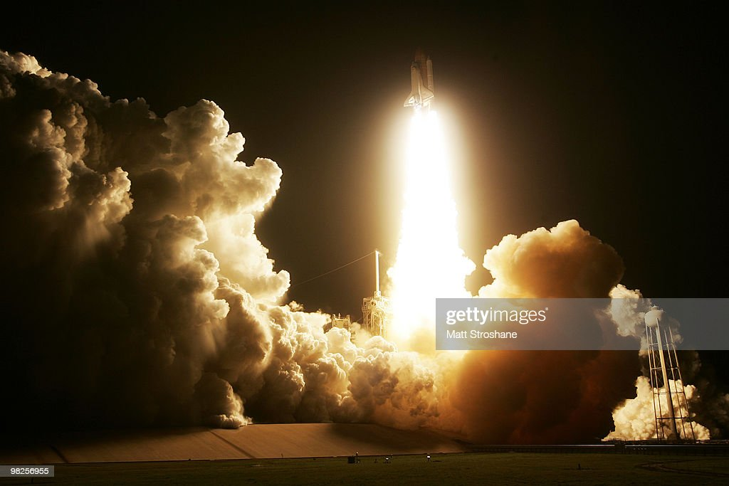 Space Shuttle Discovery lifts off from Pad 39-A at Kennedy Space Center April 5, 2010 in Cape Canaveral, Florida. Discovery is scheduled for a 13 day supply mission to the International Space Station.