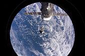 November 5, 2007 - Backdropped by a blue and white Earth, Space Shuttle Discovery is featured in this image photographed by an Expedition 16 crewmember after the shuttle undocked from the Internationa