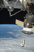 February 19, 2010 - Space shuttle Endeavour is featured in this image photographed by an Expedition 22 crew member on the International Space Station soon after the shuttle and station began their pos