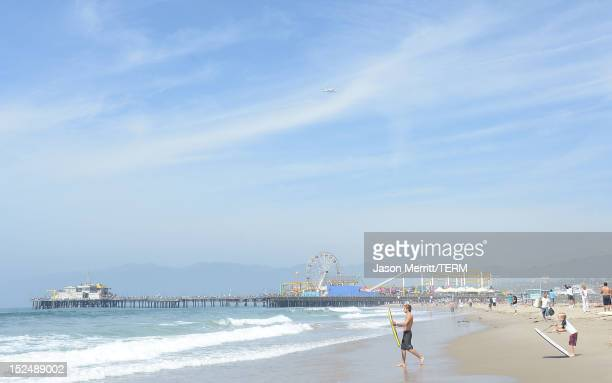Space Shuttle Endeavour arrives in LA over Santa Monica beach atop a NASA transport plane on September 21 2012 in Los Angeles California