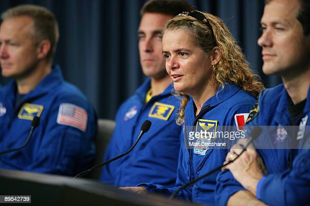 Space Shuttle Endeavour astronaut mission specialist Julie Payette of Canadian Space Agency addresses the media after returning to earth from a...