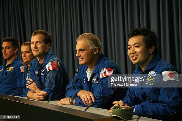 Space Shuttle Endeavour astronauts Canadian Space Agency's Julie Payette Tom Marshburn Dave Wolf and ISS engineer Koichi Wakata of the Japanese space...