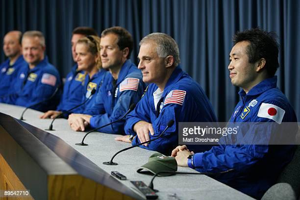 Space Shuttle Endeavour astronauts Commander Mark Polansky Pilot Doug Hurley mission specialists Christopher Cassidy Canadian Space Agency's Julie...