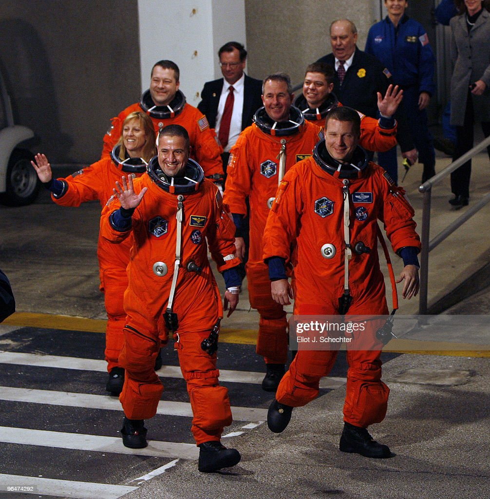 Space Shuttle Endeavour astronauts (L-R) mission specialists Robert Behnken, Nicholas Patrick, Stephen Robinson, and Kathryn Hire, with pilot Terry Virts and Commander George Zamka prepare to travel out to launch pad 39A hours before launch at NASA's Kennedy Space Center February 7, 2010 in Cape Canaveral, Florida. STS-130 Endeavour is set to begin a 13-day flight to the International Space Station early Sunday morning. It will be Endeavour's 24th mission, the 33rd shuttle flight dedicated to station assembly and one of the last five flights of the shuttle program, which is scheduled to finish in September.