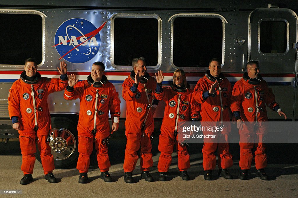 Space Shuttle Endeavour astronauts (L-R) mission specialists Robert Behnken, Nicholas Patrick, Stephen Robinson, and Kathryn Hire, with pilot Terry Virts and Commander George Zamka prepare to travel out to launch pad 39A hours before launch at NASA's Kennedy Space Center February 8, 2010 in Cape Canaveral, Florida. STS-130 Endeavour is set to begin a 13-day flight to the International Space Station. The 33rd shuttle flight dedicated to station assembly will be Endeavour's 24th mission and one of the last five flights of the shuttle program, which is scheduled to finish in September.