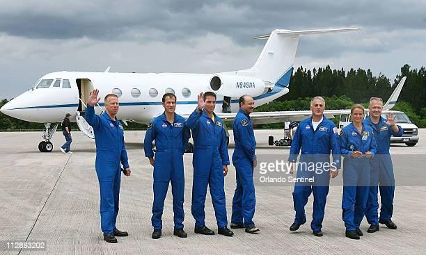Space shuttle Endeavour astronauts Timothy Kopra from left Thomas Marshburn Christopher Cassidy Commander Mark Polansky David Wolf Julie Payette...