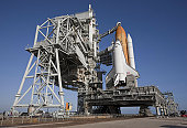 Space shuttle Endeavour atop a mobile launcher platform at Kennedy Space Center.