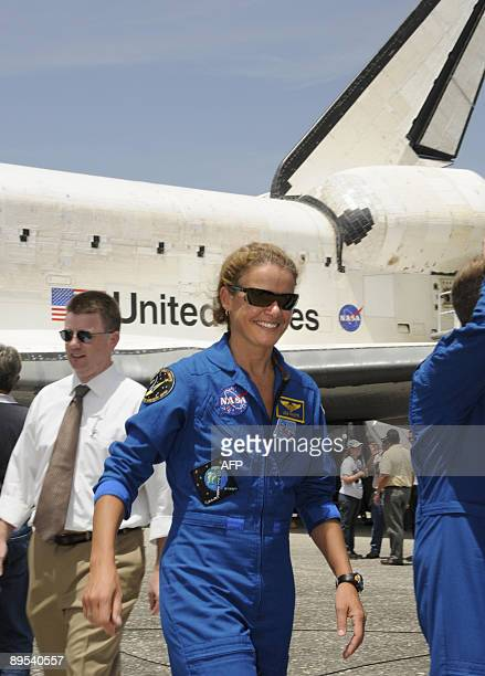 Space shuttle Endeavour crewmember Canadian Space Agency astronaut Julie Payette after landing July 31 2009 at Kennedy Space Center in Florida at the...