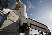Space Shuttle Endeavour on the launch pad at Kennedy Space Center, Florida.