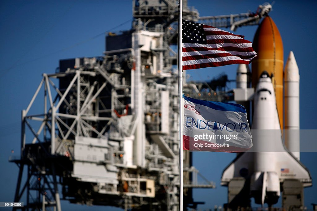 Space shuttle Endeavour stands on launch pad 39A at NASA's Kennedy Space Center February 6, 2010 in Cape Canaveral, Florida. STS-130 Endeavour is set to begin a 13-day flight to the International Space Station early Sunday morning. It will be Endeavour's 24th mission, the 33rd shuttle flight dedicated to station assembly and one of the last five flights of the shuttle program, which is scheduled to finish in September.